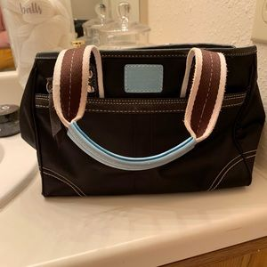 Black and Blue Shoulder Bag by Coach
